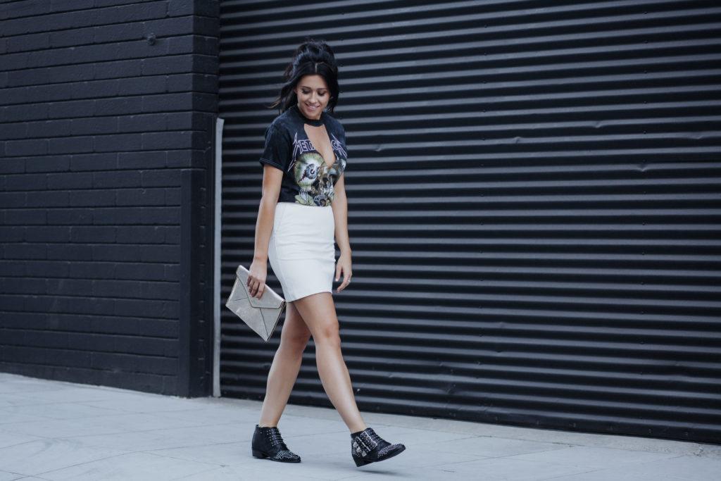 DIY Choker Cutout T-Shirt Street Style White Leather Skirt