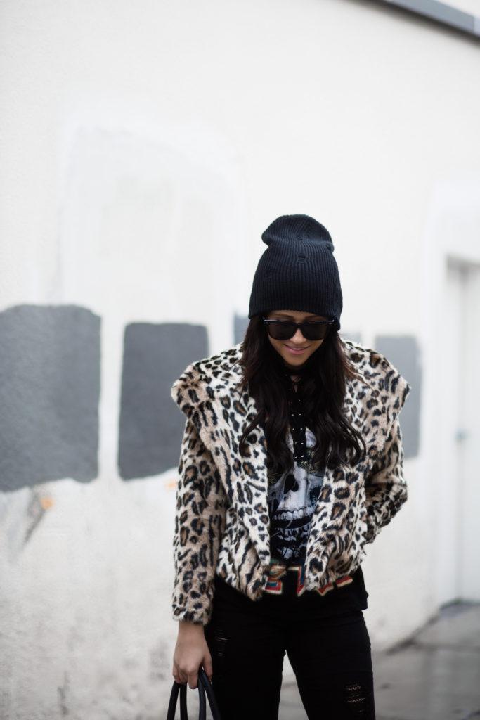 Leopard Print & Band T-shirt