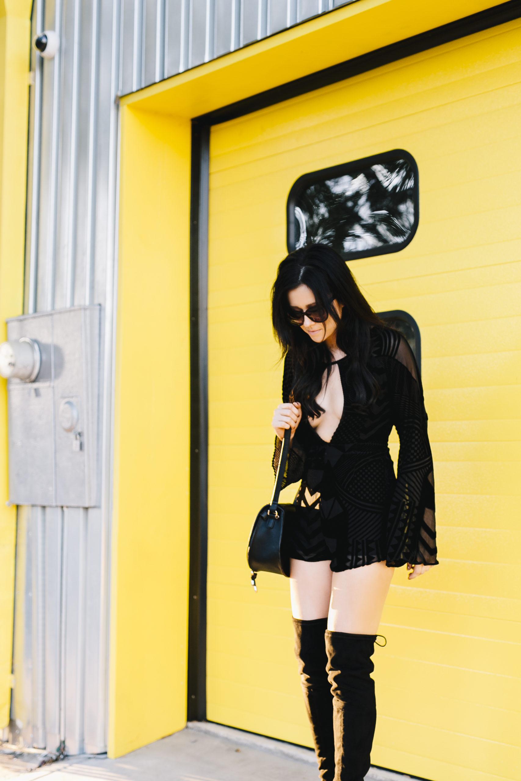Black Velvet Romper