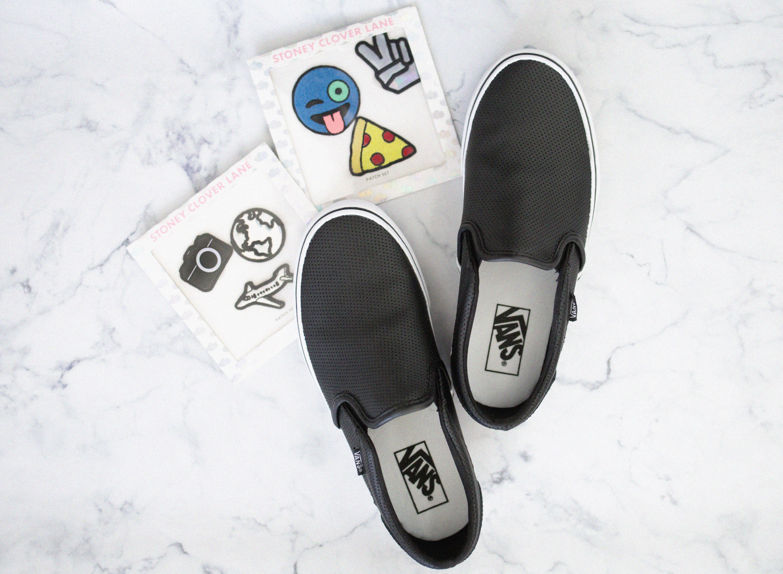 How To Put Patches On Your Vans Erin Aschow of Revenge Bakery Lifestyle  Blog creates DIY embellished tennis shoes 75119dae4