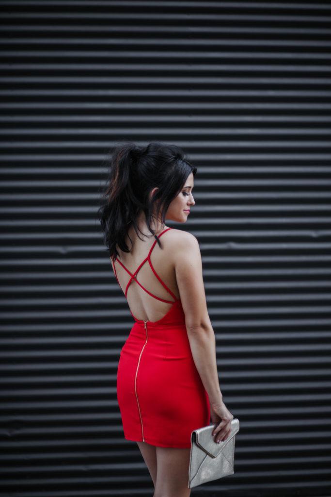 Fashion Blogger Erin Aschow Revenge Bakery Red Cross Back Mini Dress from Revolve NBD