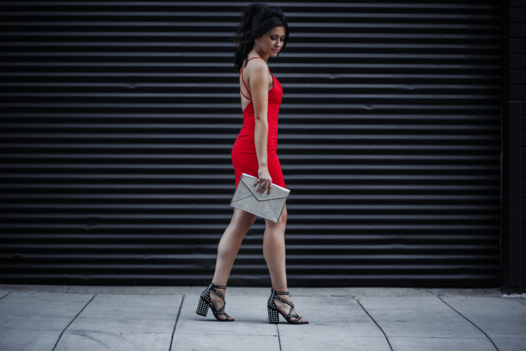 Fashion Blogger Erin Aschow Revenge Bakery Awards Show Style wearing Revolve Red Mini Dress and black studded heels - APMAs: Awards Show Style, Hair & Behind the Scenes