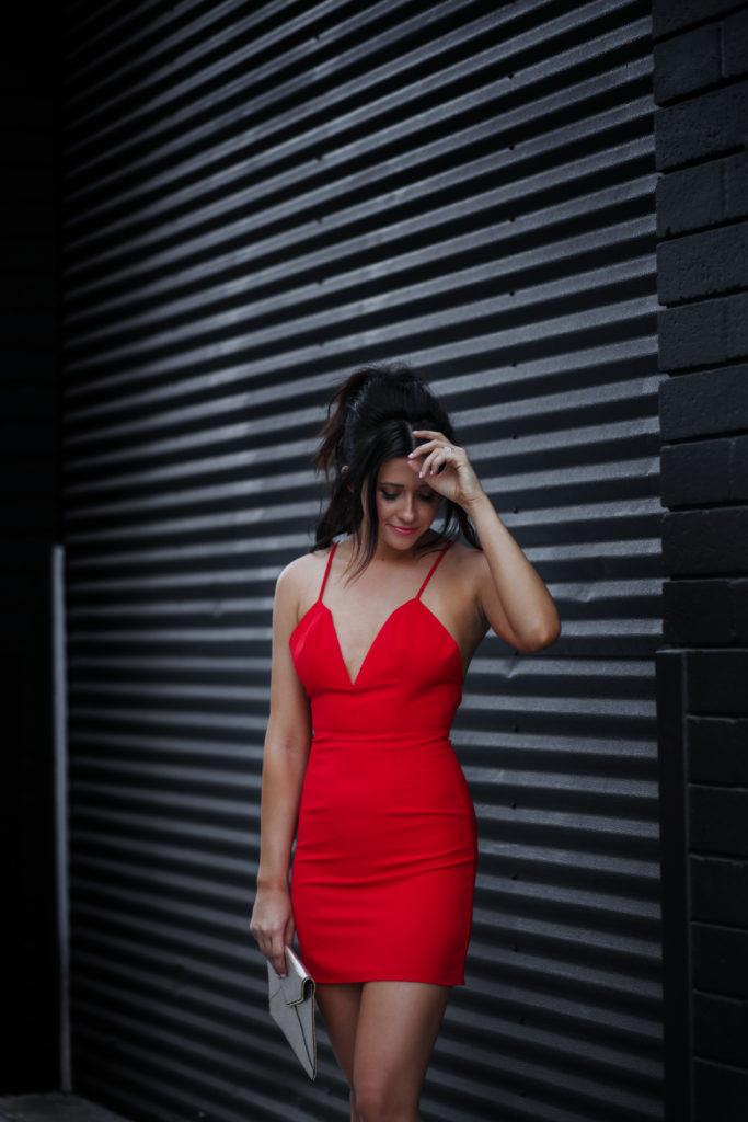 Fashion Blogger Erin Aschow Revenge Bakery NBD x Naven Twins Red Don't Cross Me Dress