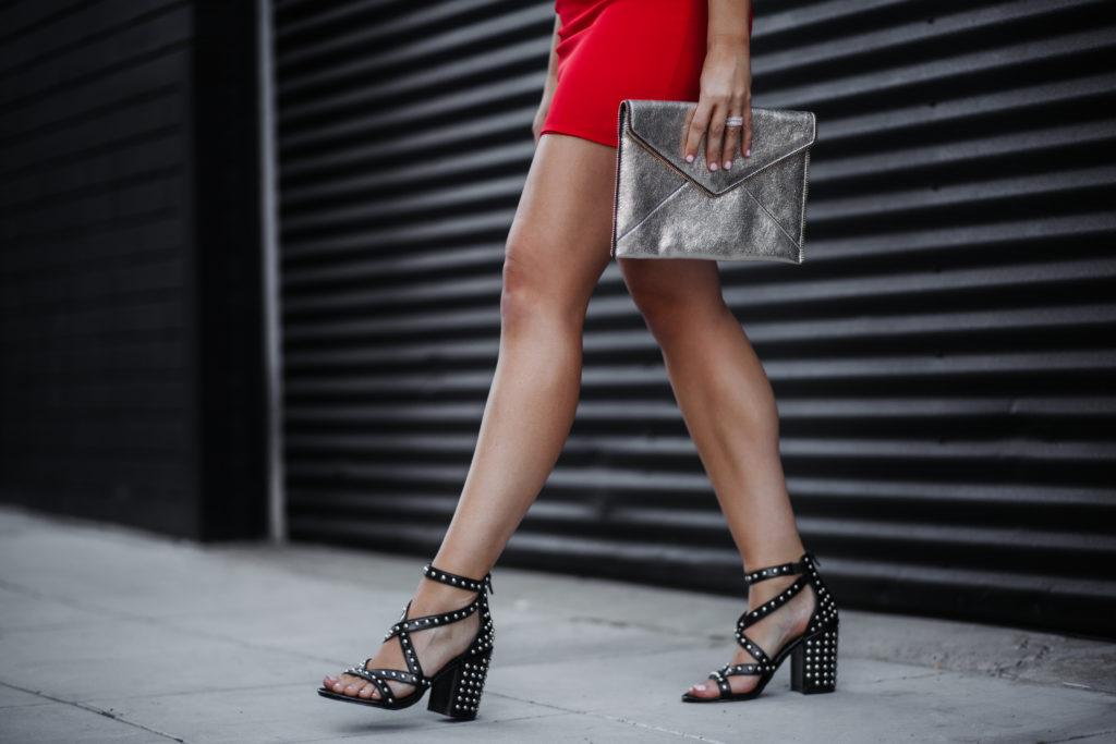 Fashion Blogger Erin Aschow of Revenge Bakery Steve Madden Studded Black Heels and Rebecca Minkoff Clutch