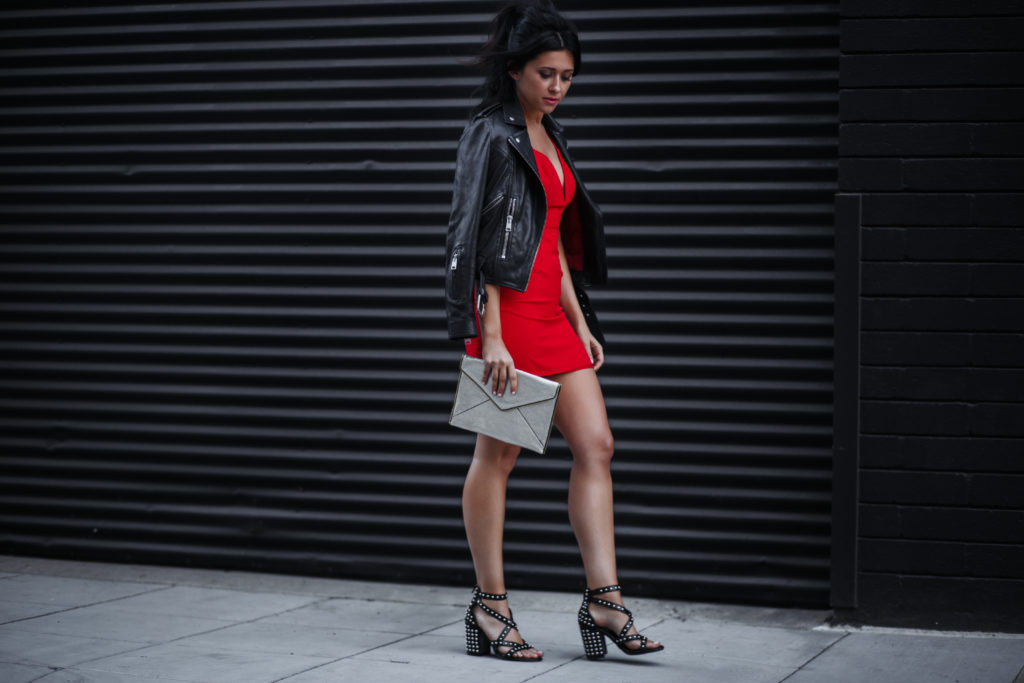 Erin Aschow Fashion Blogger Red Dress Leather Jacket and Studded Shoes - APMAs: Awards Show Style, Hair & Behind the Scenes
