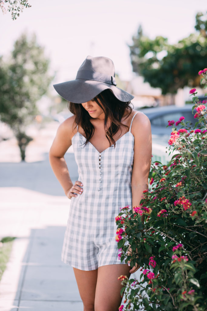 Erin Aschow Fashion Blogger Gingham Romper from Topshop