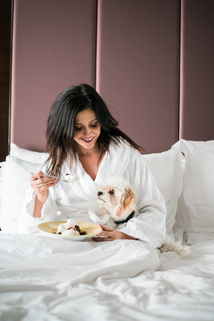 Erin Aschow Travel Blogger Dog Breakfast in Bed - Four Seasons Denver