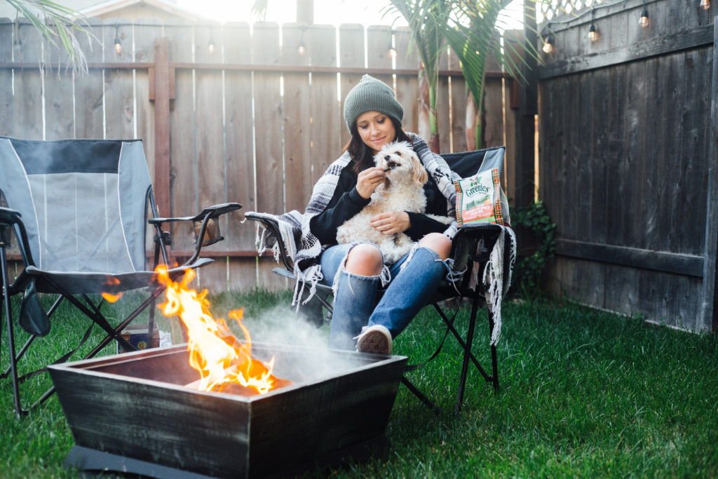 Fashion Blogger Erin Aschow campfire s'mores with doug the dog