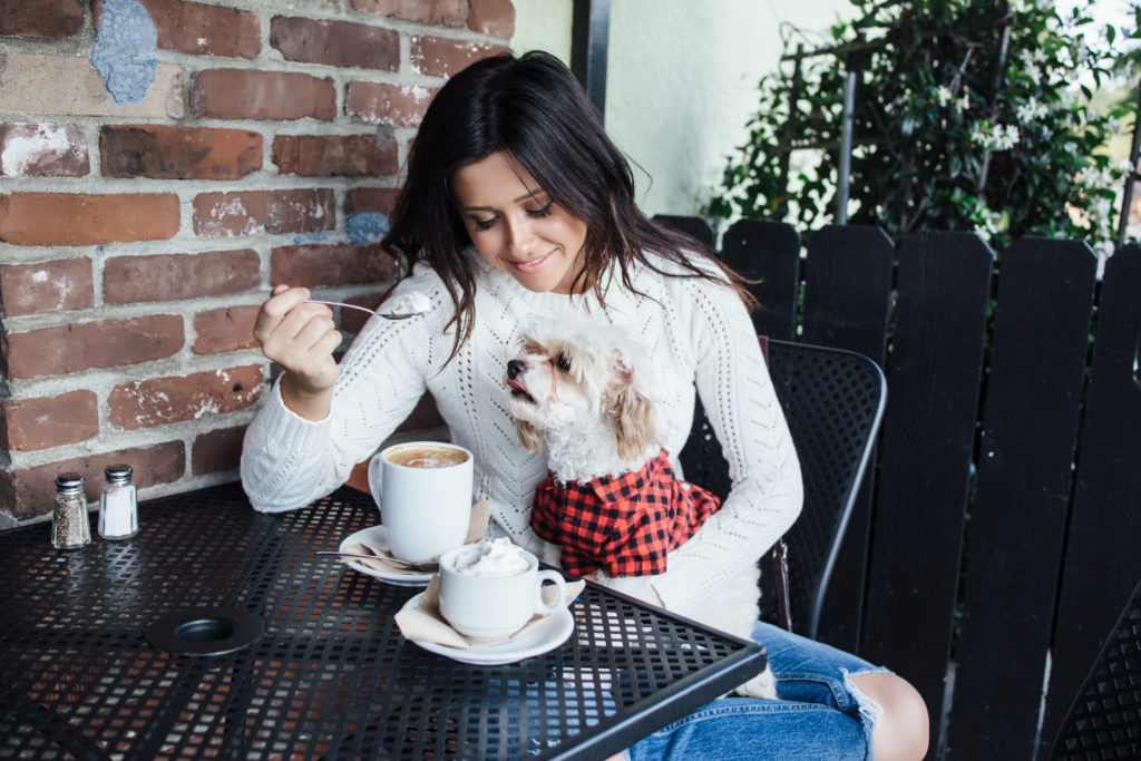 Erin Aschow and Doug the Dog - Drinking Coffee