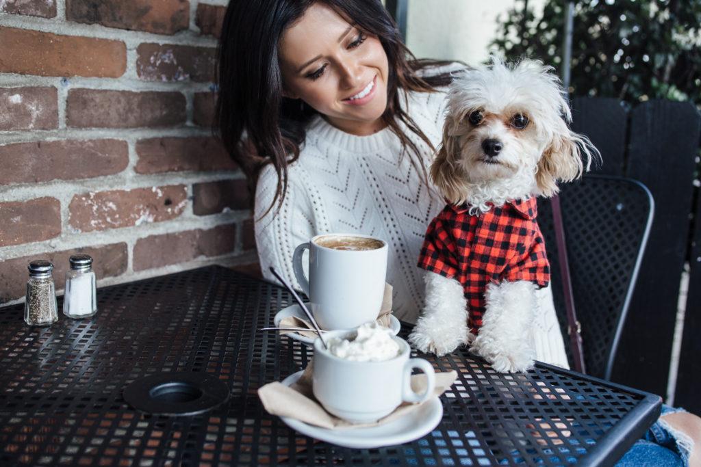 Pumpkin Spice - Fall Photoshoot - Fashion Blogger & Dog drinking coffee