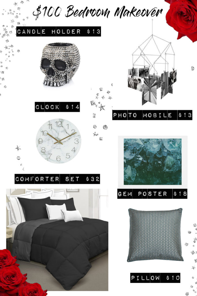 $100 Bedroom Makeover - Edgy decor