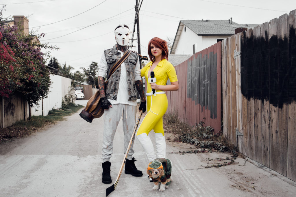 Erin Aschow and Tony Perry Halloween Costumes April O'Neil and Casey Jones Teenage Mutant Ninja Turtles