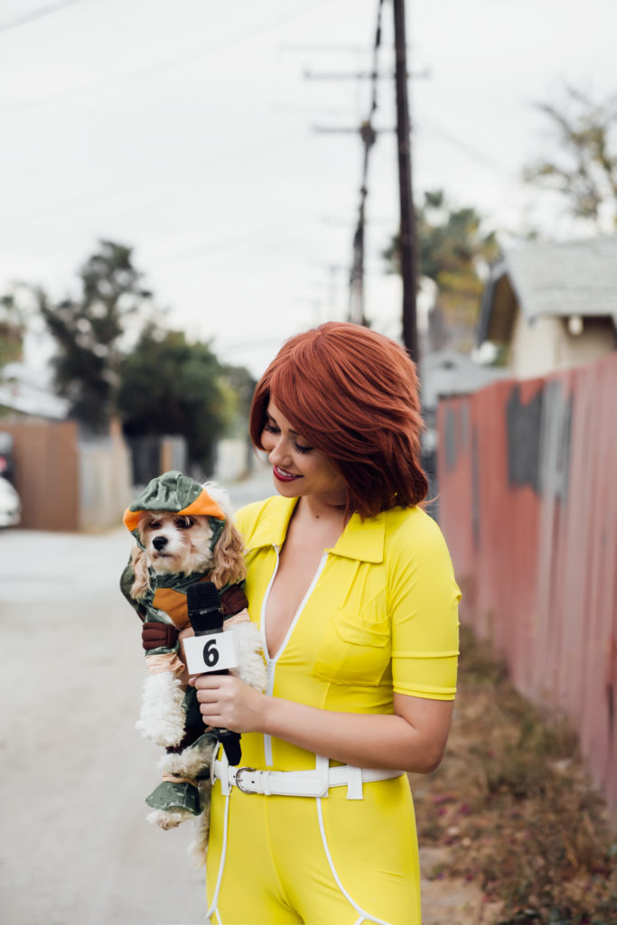Erin Aschow April O'Neil Halloween Costume Cosplay with Doug the Dog Teenage Mutant Ninja Turtle