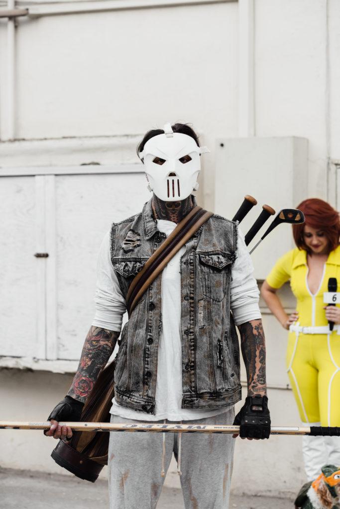 Erin Aschow and Tony Perry Halloween Costumes April O'Neil and Casey Jones Teenage Mutant Ninja Turtles
