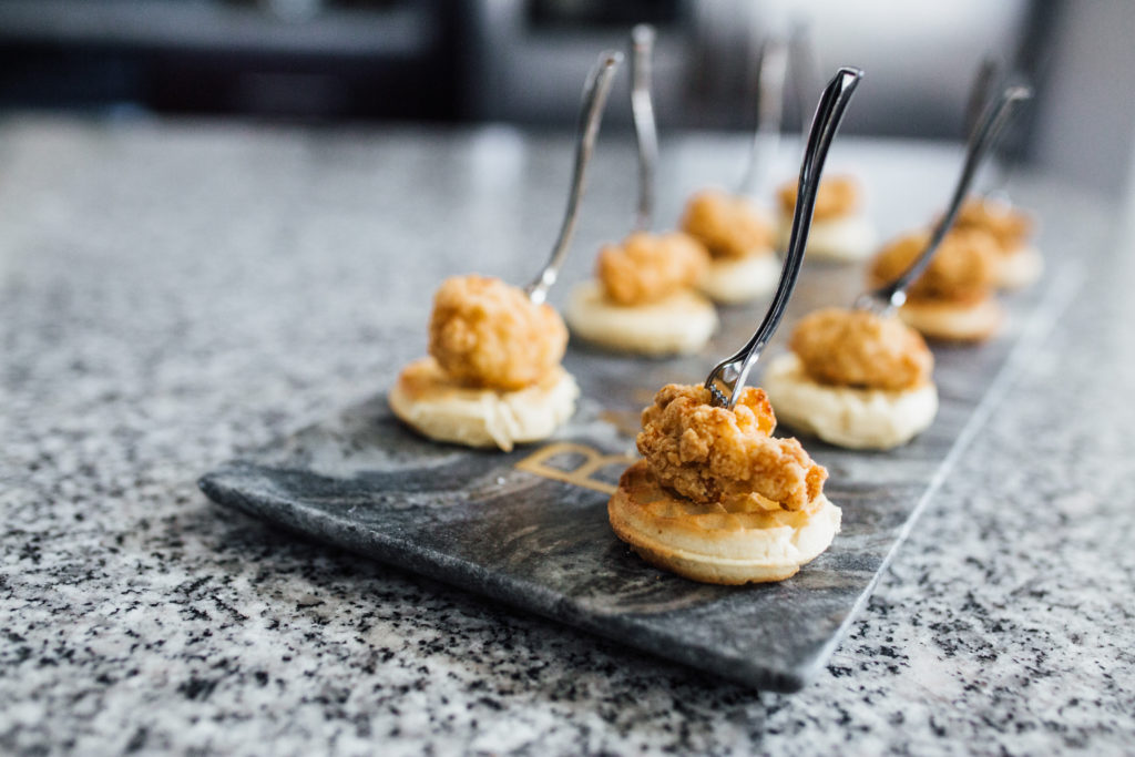 Easy Appetizer Recipe Mini Chicken and Waffle Bites with Maple Sriracha Sauca