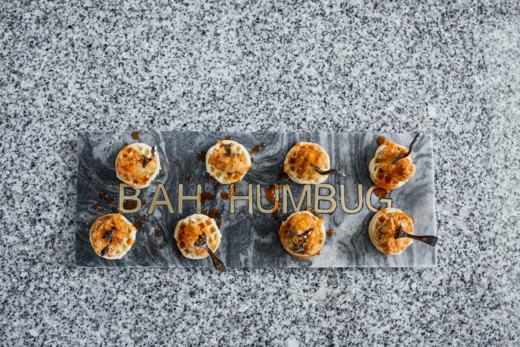Easy Appetizer Recipe Mini Chicken and Waffle Bites with Maple Sriracha Sauca