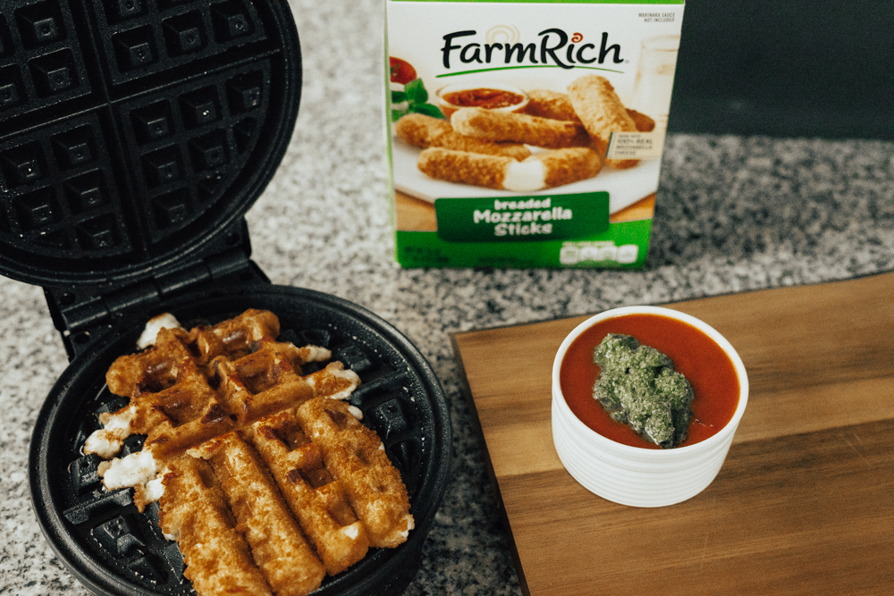 Farm Rich Appetizer Recipe - Mozzarella Sticks in a Waffle Iron