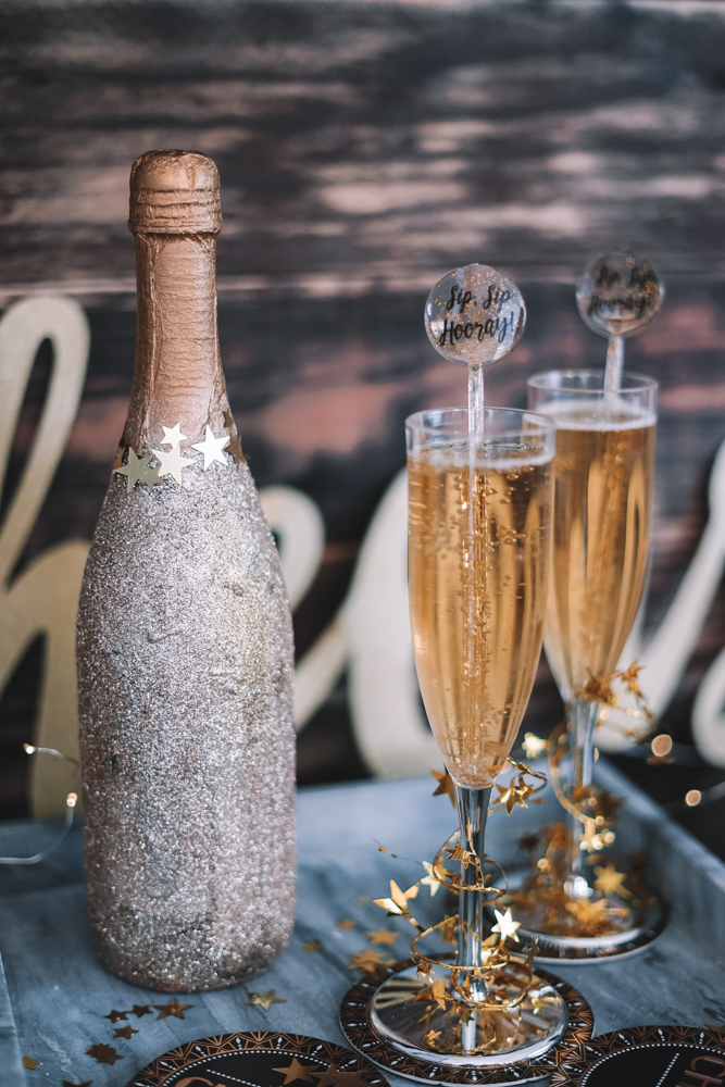 how to glitter a champagne bottle