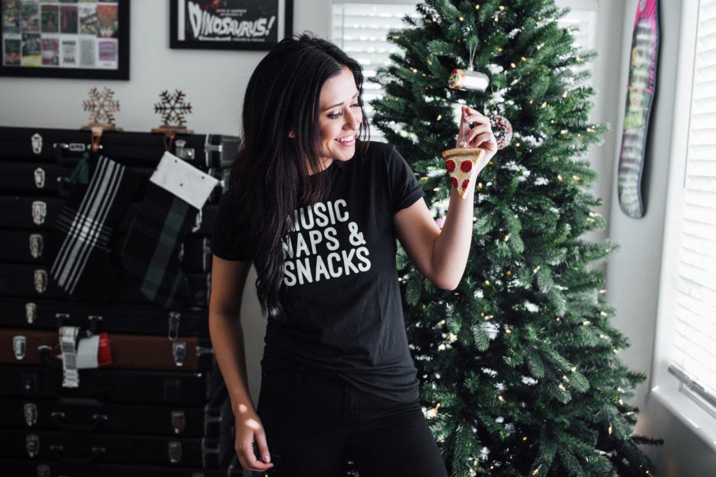 Erin Aschow Blogger Revenge Bakery Merch Music Naps & Snacks T-shirt decorating Christmas tree