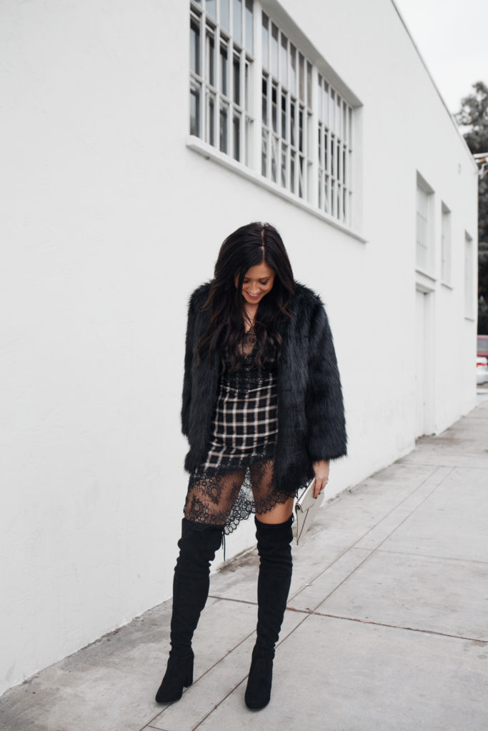 Erin Aschow Fashion Blogger Plaid and Lace Lovers + Friends Dress and Black Faux Fur Jacket from Revolve with Rebecca Minkoff Clutch & Over the Knee Boots
