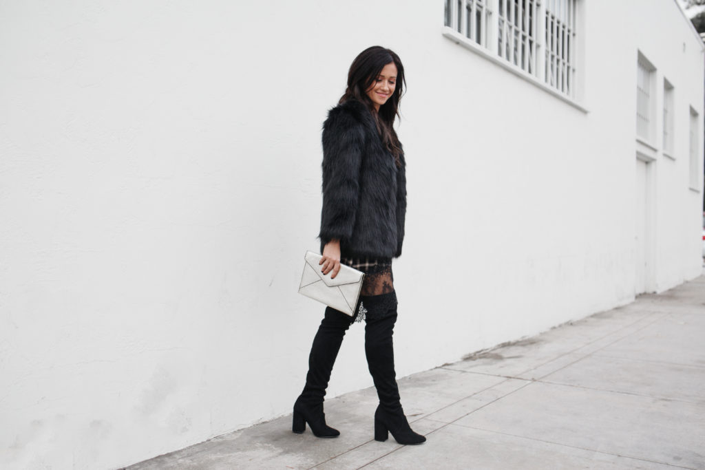 Recycle an Old Look: Plaid and Lace Lovers + Friends Dress and Black Faux Fur Jacket from Revolve with Rebecca Minkoff Clutch & Over the Knee Boots