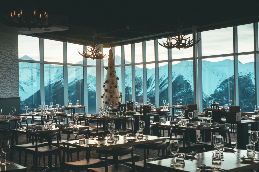 Fairmont Banff Alberta Canada restaurant on top of mountain in banff