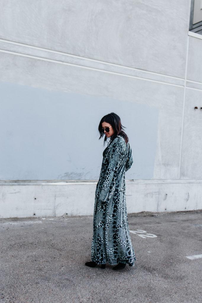 Erin Aschow fashion lifestyle blogger - cosabella velvet duster, black mesh bodysuit, grlfrnd karolina high waisted jeans, black booties