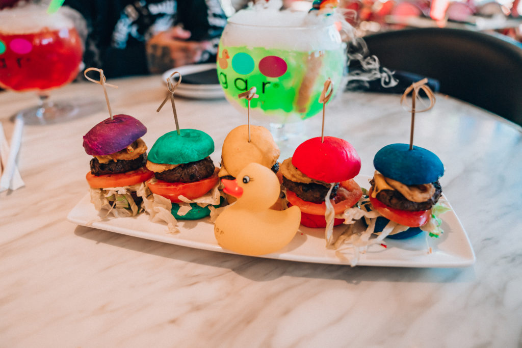 Erin Aschow's Ultimate Travel Guide to Las Vegas - sugar factory rainbow burgers and goblet candy cocktails
