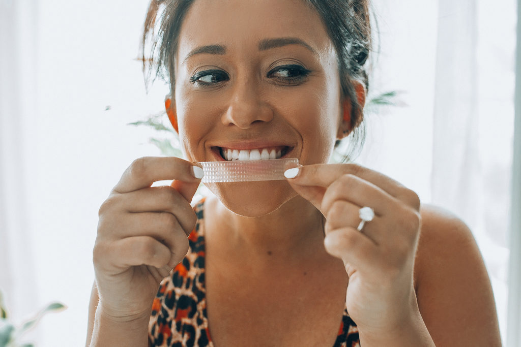 How I Get & Keep My Teeth White at Home with ARC whitening strips & blue light kit from Target